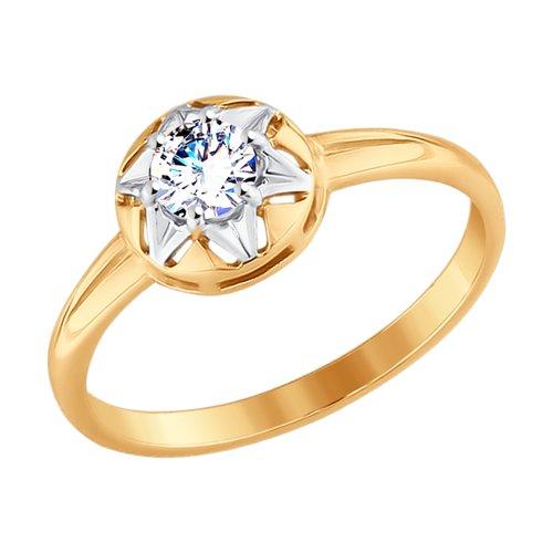 Кольцо из золота с фианитом (017619) - фото