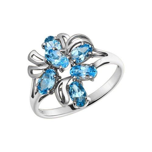 Кольцо SOKOLOV из белого золота с топазами кольцо с топазами и бриллиантами из белого золота