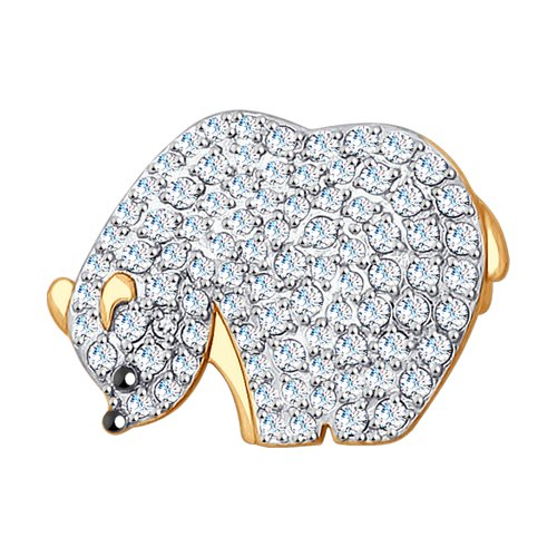 Золотая брошь с фианитами «Медвежонок»