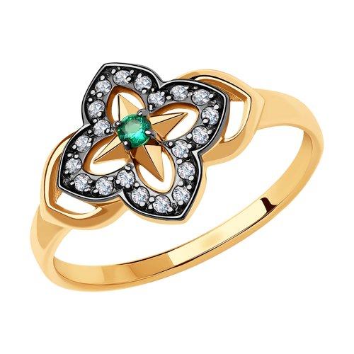 Кольцо из золота с фианитами (018601) - фото