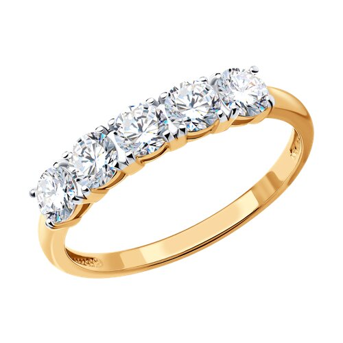 Кольцо из золочёного серебра со Swarovski Zirconia (89010076) - фото