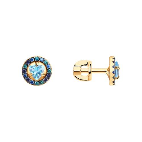 Серьги из золота с топазами и фианитами (725983) - фото