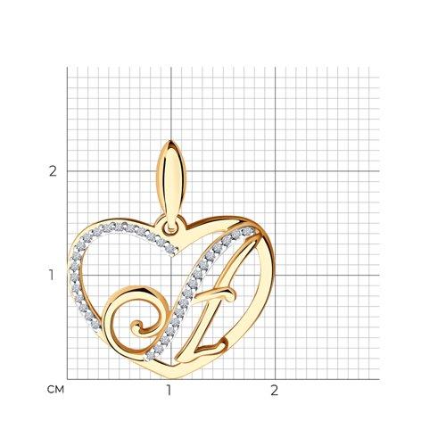 Подвеска-буква «А» из золота