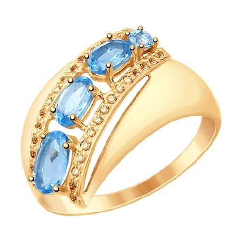 Кольцо из золота с топазами и фианитами (37714823) - фото