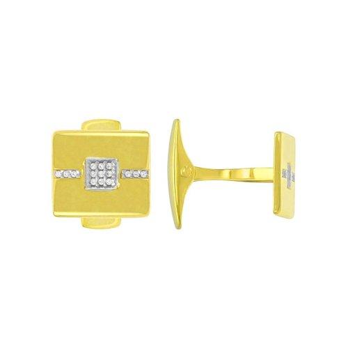 Запонки из желтого золота с фианитами