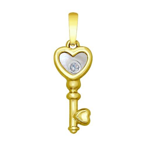 Фото - Подвеска-ключик SOKOLOV из жёлтого золота с бриллиантом подвеска с 21 бриллиантом из жёлтого золота