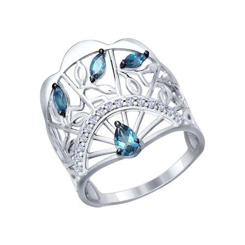 Кольцо «Веер» из серебра с топазами и фианитами