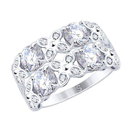 Кольцо из серебра с фианитами (94012518) - фото