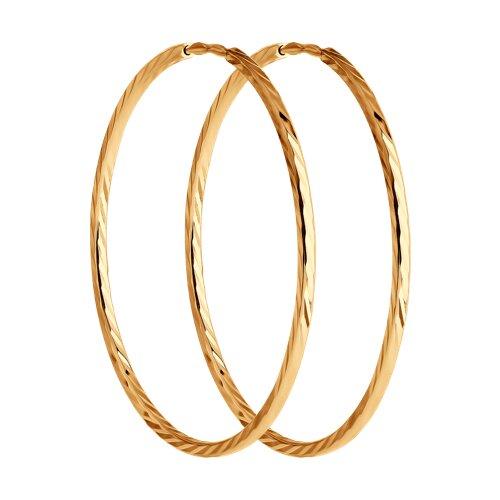 """Золотые серьги """"Конго"""", диаметром 30 мм. 140013 sokolov фото"""