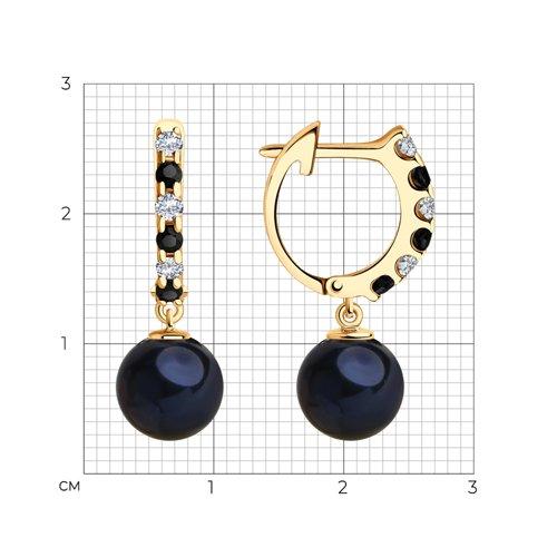 Серьги из золота с чёрным жемчугом и фианитами 792192 SOKOLOV фото 2