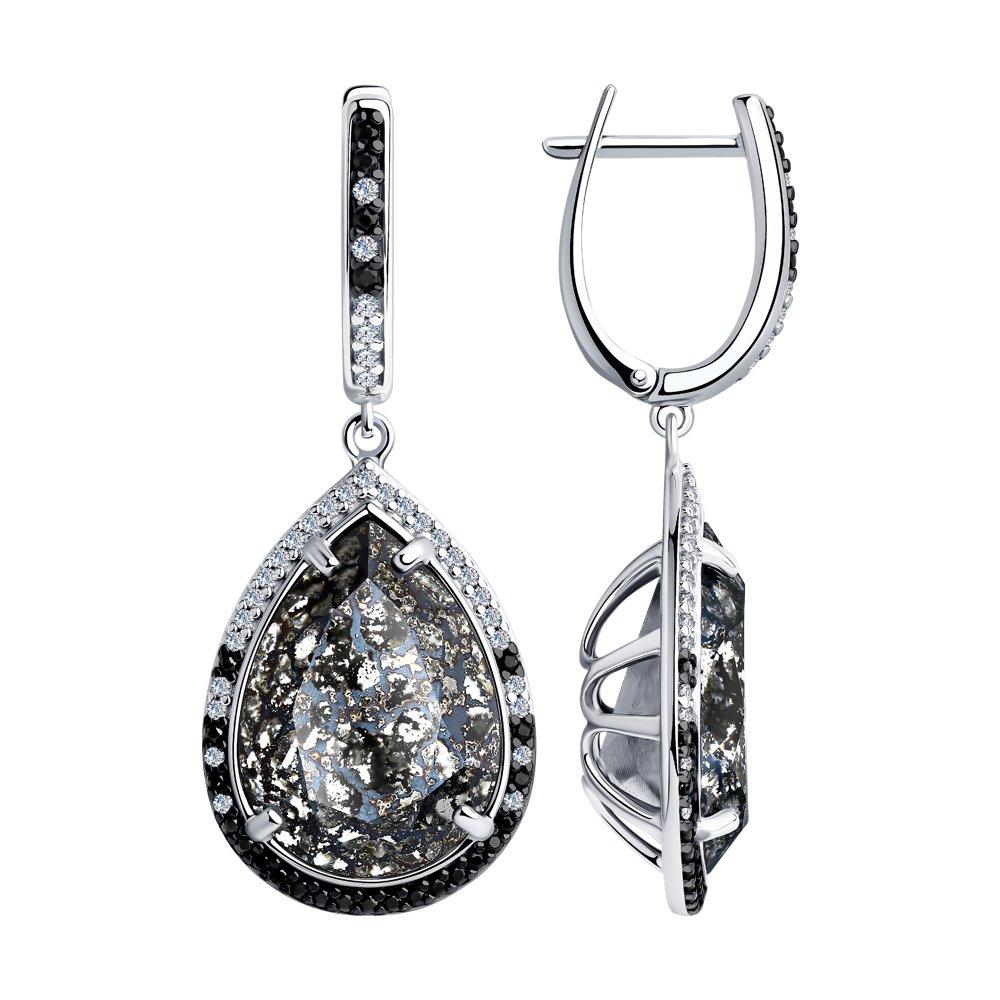 Серьги из серебра с чёрными кристаллами Swarovski и фианитами 94023614