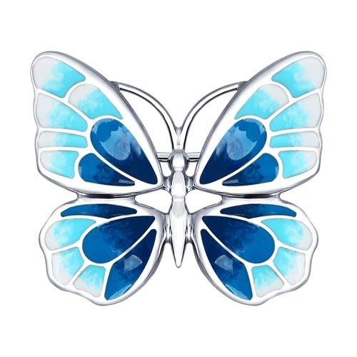 Серебряная брошь в виде бабочки (94040126) - фото