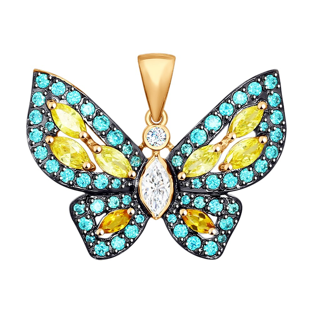 Золотая подвеска в виде бабочки с фианитами SOKOLOV золотая подвеска в виде бабочки с агатами и фианитами sokolov