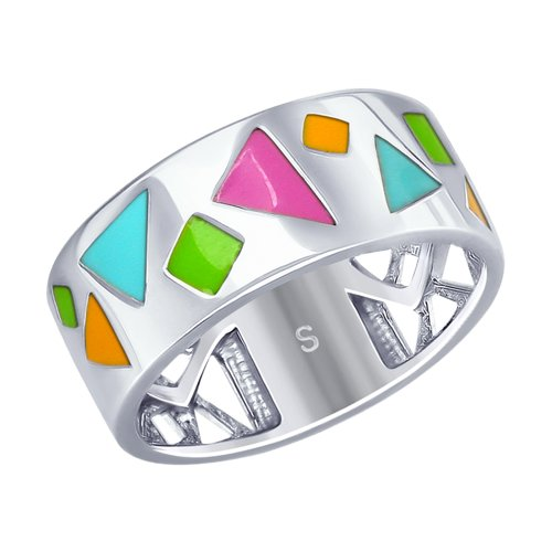 Кольцо из серебра с эмалью (94012667) - фото