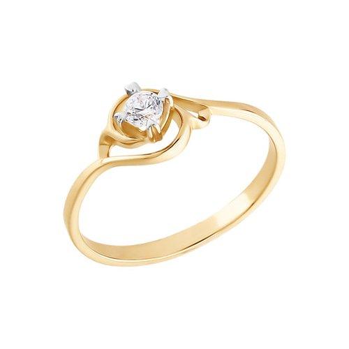 Золотое кольцо для помолвки с фианитом SOKOLOV золотое кольцо ювелирное изделие 01k616351
