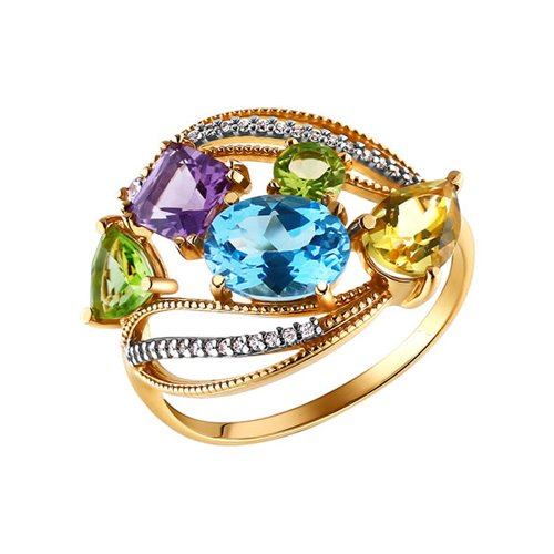 Золотое кольцо с миксом SOKOLOV из полудрагоценных камней золотое кольцо ювелирное изделие k 11013