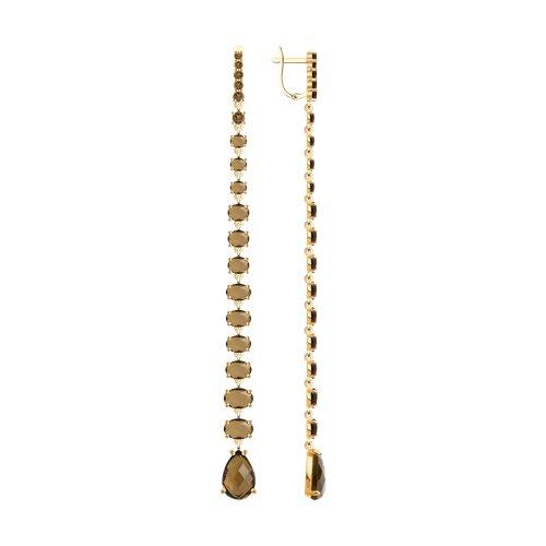 Серьги длинные из золота с раухтопазами