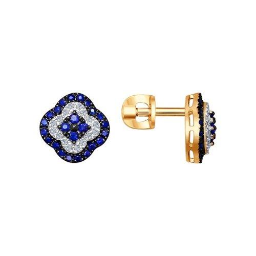 Серьги-пусеты из золота с бриллиантами и сапфирами