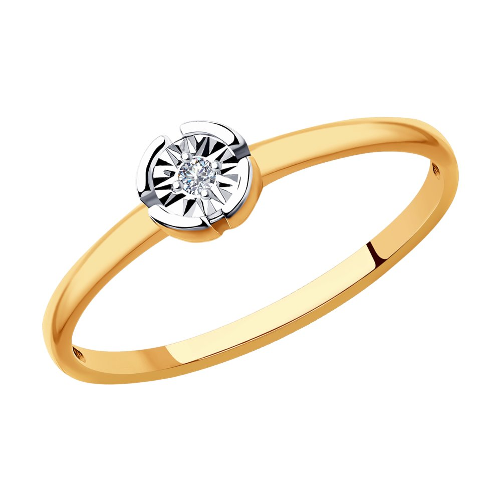 Кольцо SOKOLOV из комбинированного золота с бриллиантом фото