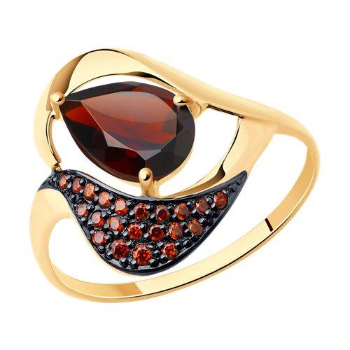 Кольцо из золота с гранатом и красными фианитами