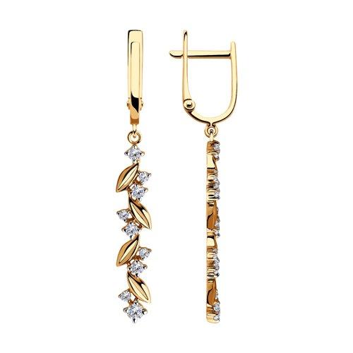 Серьги из золота с фианитами (028412) - фото