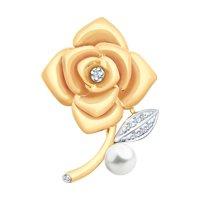 Золотая брошь в виде розы с бриллиантами