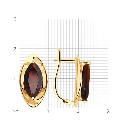 Серьги из золота с гранатами 725842 SOKOLOV фото 2