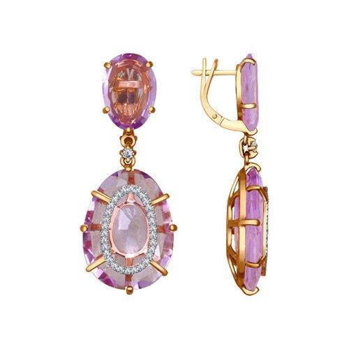Серьги длинные из золота с аметистами и бриллиантами