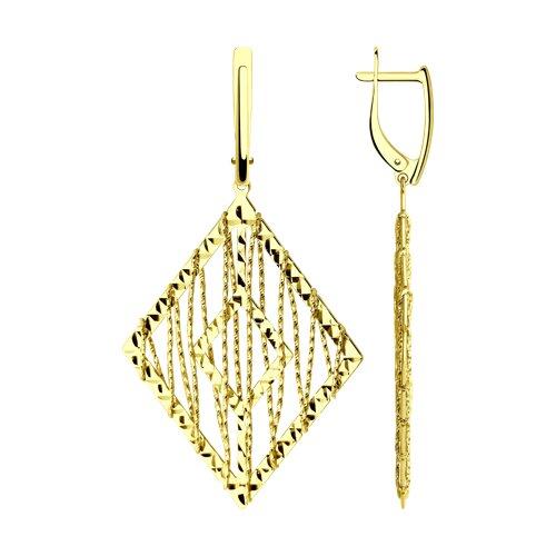 Серьги из желтого золота с алмазной гранью (028706-2) - фото