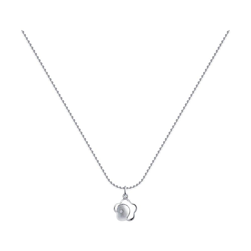 Колье SOKOLOV из серебра с бриллиантом sokolov колье из серебра с бриллиантом 87070015 40 см 3 54 г