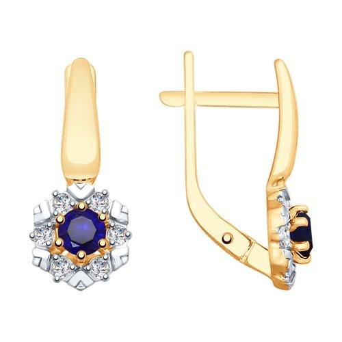 Серьги из золота с синими корундами и фианитами (725775) - фото