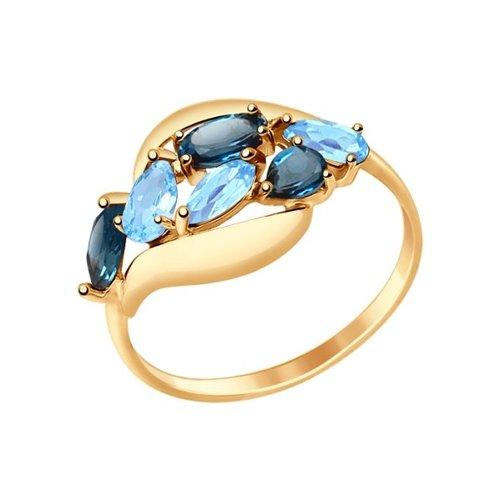 Кольцо из золота с полудрагоценными вставками (714691) - фото