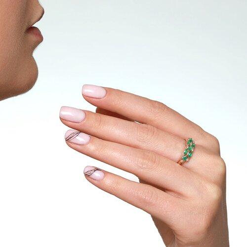 Кольцо из золота с бриллиантами и изумрудами (3010090) - фото №2