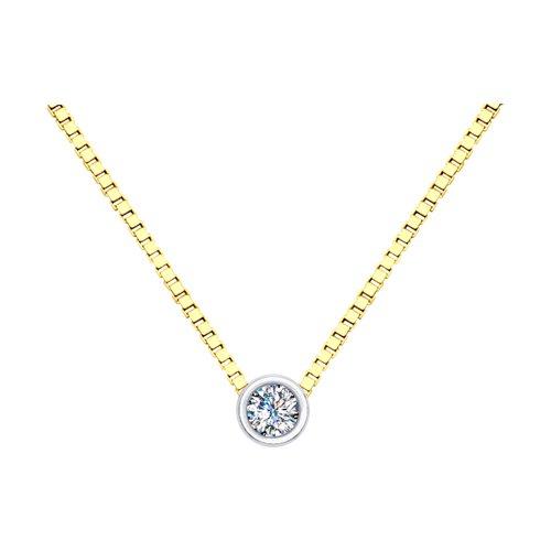 Колье из комбинированного золота с бриллиантом (1070104) - фото