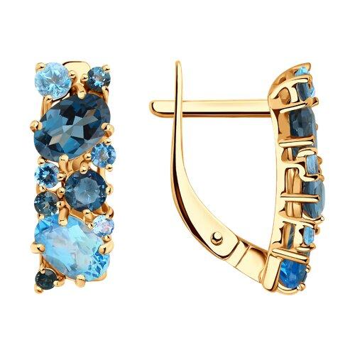 Серьги из золота с синими топазами (724260) - фото