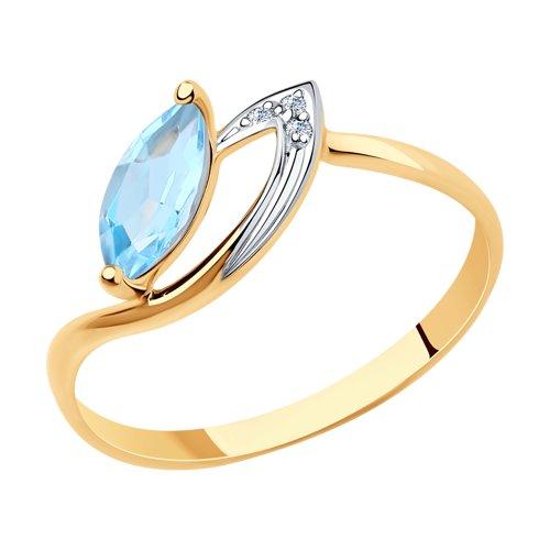 Кольцо из золота с топазом и фианитами (715957) - фото