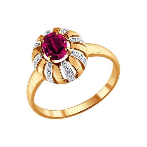 Кольцо из золота с бриллиантами и рубином