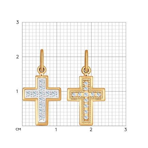Крест из комбинированного золота с фианитами (120193) - фото №2