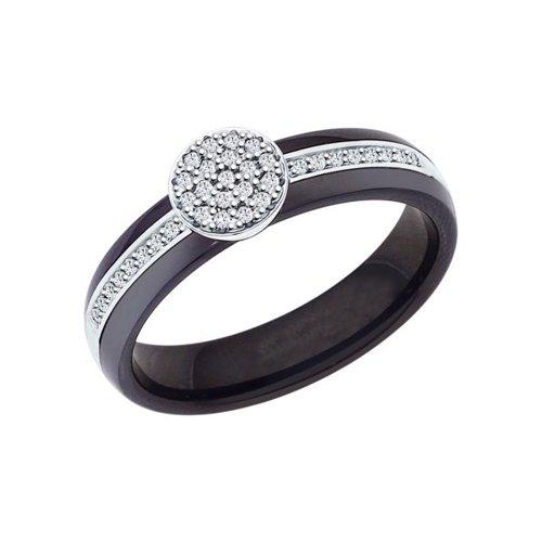 Чёрное керамическое кольцо с серебром и фианитами SOKOLOV