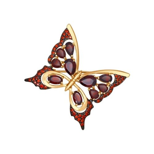 Брошь «Бабочка»  с гранатами (740128) - фото