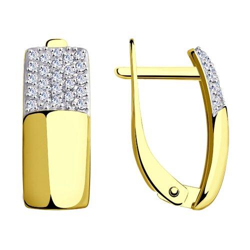Серьги из желтого золота с фианитами 027694-2 SOKOLOV фото