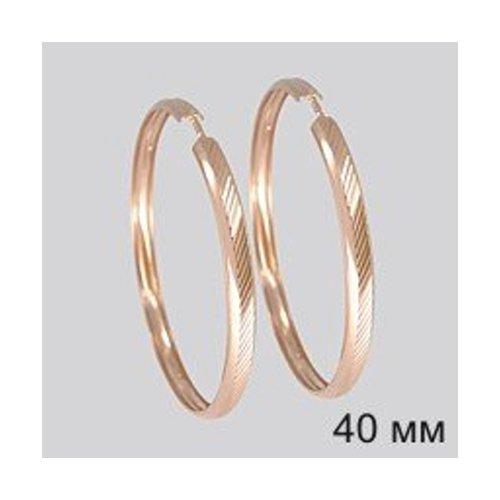 Серьги конго из золота с алмазной гранью (140094) - фото