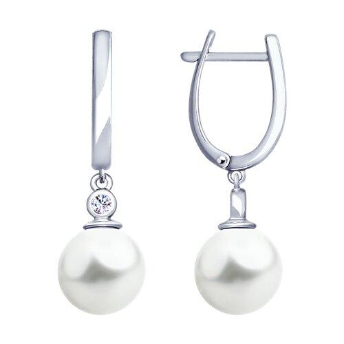 Серьги из серебра с жемчугом и фианитами (94022914) - фото