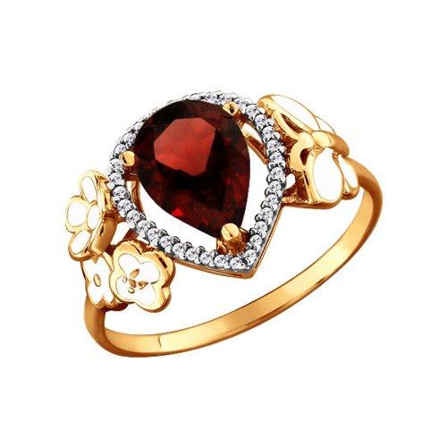 Золотое кольцо с гранатом грушевидной огранки, украшенным цветами SOKOLOV золотое кольцо ювелирное изделие k 11013