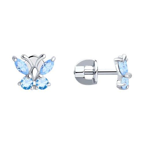 Серьги-пусеты из серебра с голубыми фианитами (94020536) - фото