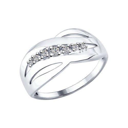 Кольцо из серебра с фианитами (94012170) - фото
