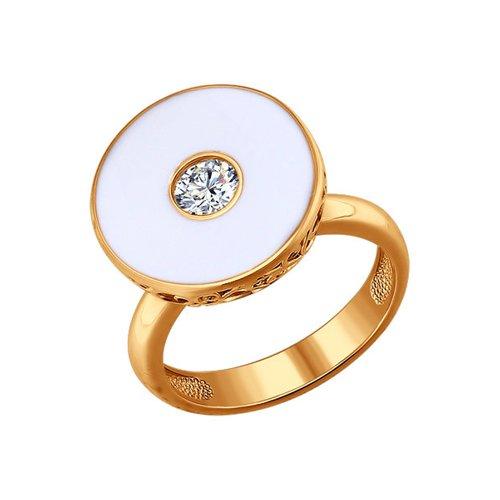 Позолоченное кольцо с белой эмалью SOKOLOV
