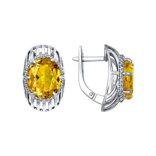 Серьги SOKOLOV из серебра с жёлтыми фианитами серьги sokolov из серебра с кварцем и жёлтыми фианитами