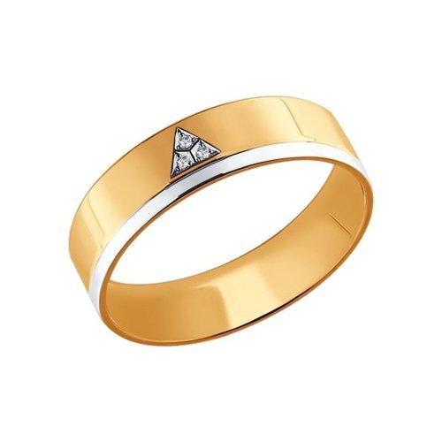 Обручальное кольцо из комбинированного золота с бриллиантами (1110070) - фото
