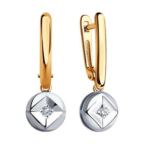 Серьги из комбинированного золота с бриллиантами (1021359) - фото №2